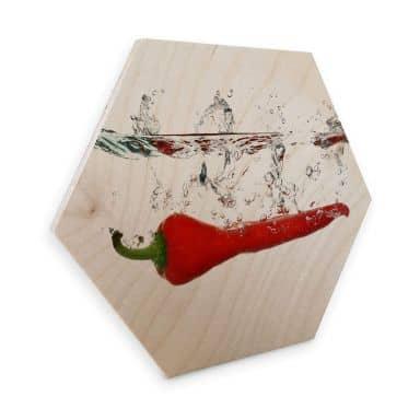 Hexagon Wood - Chili Pepper
