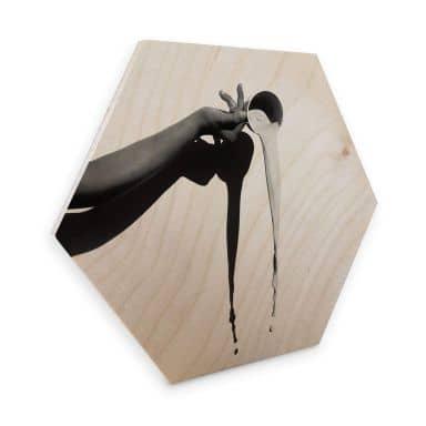 Hexagon Wood Birch Veneer - Cup of Milk