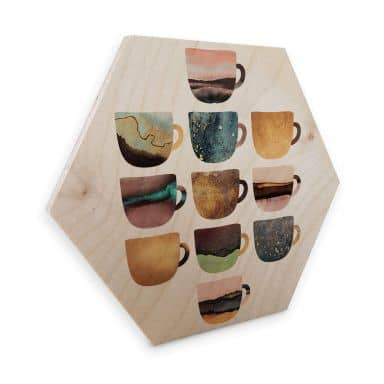 Hexagon - Holz Birke-Furnier - Fredriksson: Kaffeetassen: Pretty Nature