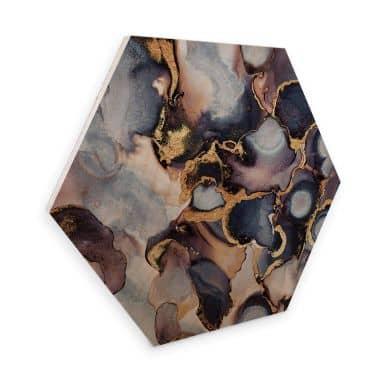 Hexagon - Holz Birke-Furnier - Fredriksson - Tinte: Rosé und Gold