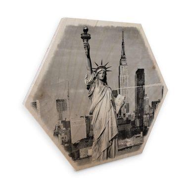 Hexagon Hout berkenfineer - Statue of Liberty