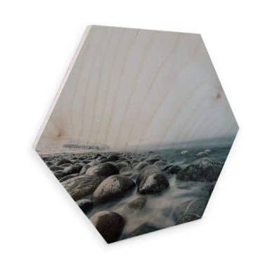 Hexagon - Holz Birke-Furnier - Gezeiten