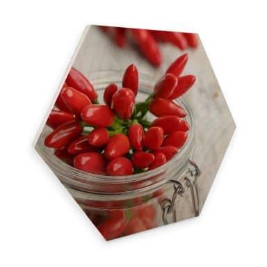 Hexagon Birch veneer - Hot Chili
