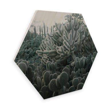 Hexagon - Holz Birke-Furnier - Kakteen