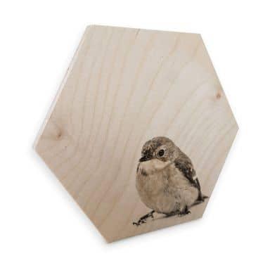 Hexagon - Holz Birke-Furnier - Kleiner Spatz