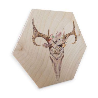 Hexagon - Holz Birke-Furnier - Kvilis - Boho Skull Feder