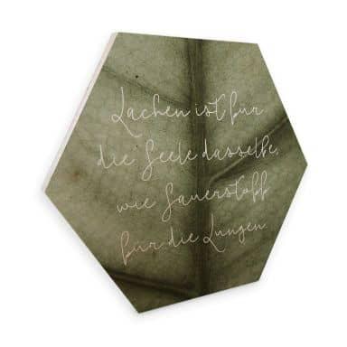 Hexagon - Holz Birke-Furnier - Lachen ist für die Seele