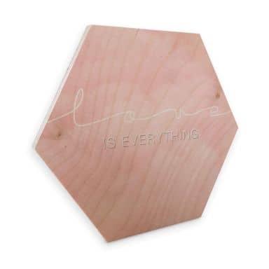 Hexagon - Holz Birke-Furnier - Love is everything - rosa Wolken