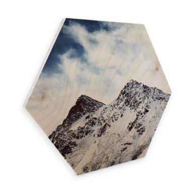 Hexagon - Holz Birke-Furnier - Snow Mountain