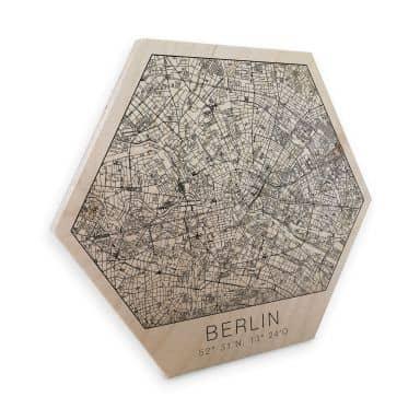 Hexagon - Holz Birke-Furnier - Stadtplan Berlin