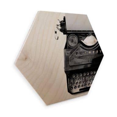 Hexagon Wood - Typewriter
