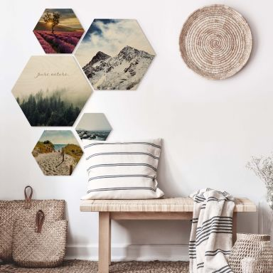 Hexagon Hout Landscapes (set van 5)