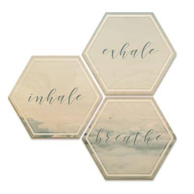 Hexagon Birch veneer - inhale, exhale, breathe