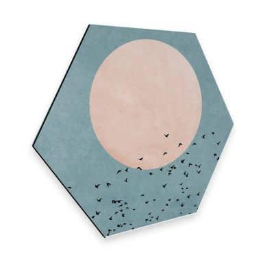Hexagon alu-dibond - Kubistika - Moon