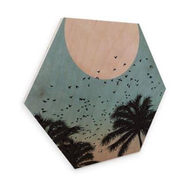 Hexagon - Holz Birke-Furnier - Kubistika - Sonnenuntergang