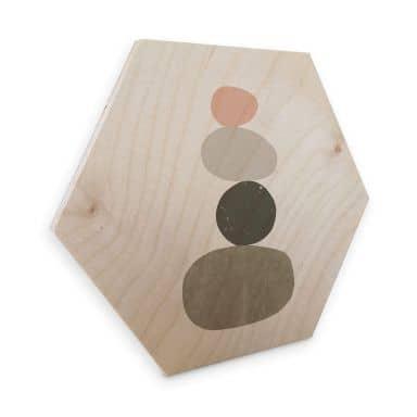 Hexagon - Holz Nouveauprints - Pebbles 1