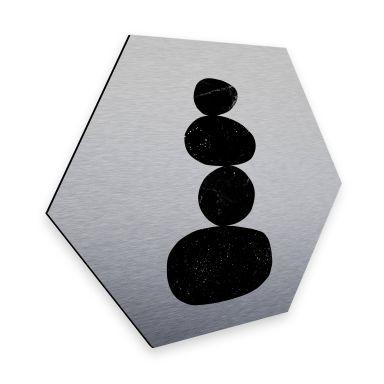 Hexagon - Alu-Dibond Silbereffekt Nouveauprints - Pebbles 3 black