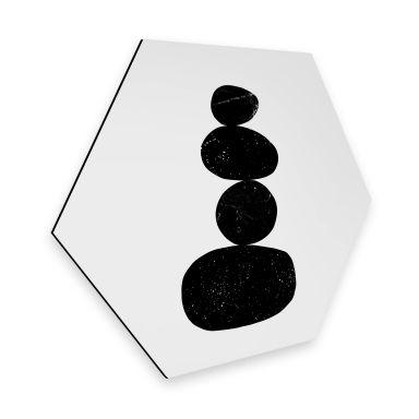 Hexagon - Alu-Dibond Nouveauprints - Pebbles 3 black