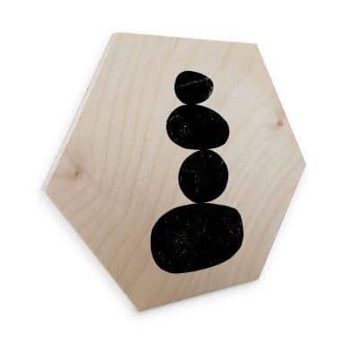 Hexagon - Holz Birke-Furnier Nouveauprints - Pebbles 3 black
