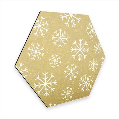Hexagon - Alu-Dibond Goldeffekt Schneeflocken Eiskristalle Weiß