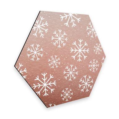 Hexagon - Alu-Dibond Kupfereffekt Schneeflocken Eiskristalle Weiß