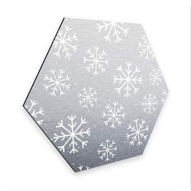 Hexagon - Alu-Dibond-Silbereffekt Schneeflocken Eiskristalle Weiß