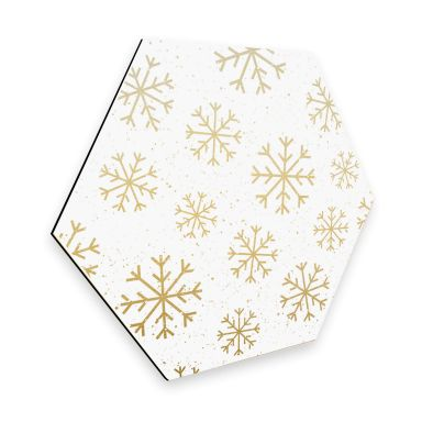 Hexagon - Alu-Dibond-Goldeffekt Schneeflocken Eiskristalle