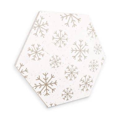Hexagon - Holz Birke-Furnier Schneeflocken Eiskristalle