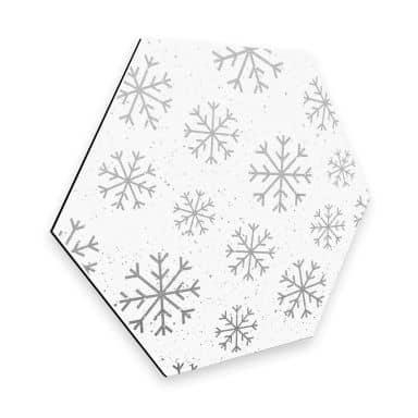 Hexagon - Alu-Dibond-Silbereffekt Schneeflocken Eiskristalle