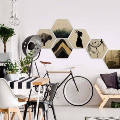 Hexagon-Set Holz Bohemian