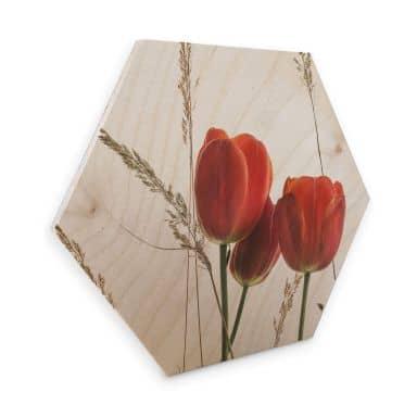 Hexagon - Holz Birke-Furnier Kadam – Flora Tulpe