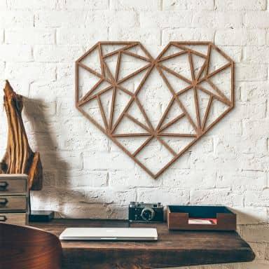 Holzkunst Mahagoni - Origami Herz
