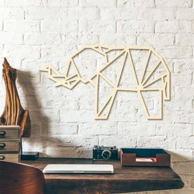 Decoro in legno origami Elefante