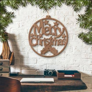 Merry Christmas – mahogany wood