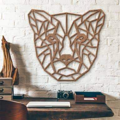 Décoration murale en bois acajou - Guépard origami