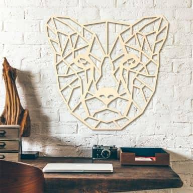 Décoration murale en bois peuplier - Guépard origami