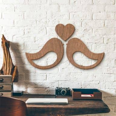 Holzkunst Mahagoni - Vogelpärchen
