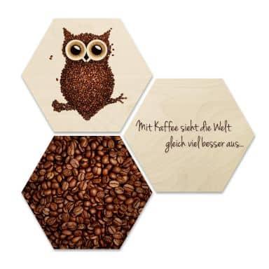 Hexagon - Holz Birke-Furnier - Kaffeeeule (3er Set)
