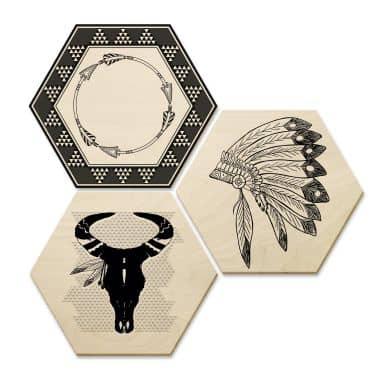 Hexagone - Bois - Style indien