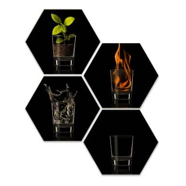 Hexagon - Holz Birke-Furnier - Frutos Vargas - The Four Elements (4er Set)