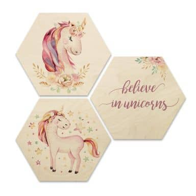 Hexagon - Holz Birke-Furnier - Kvilis - Believe in Unicorns - Einhörner (3er Set)