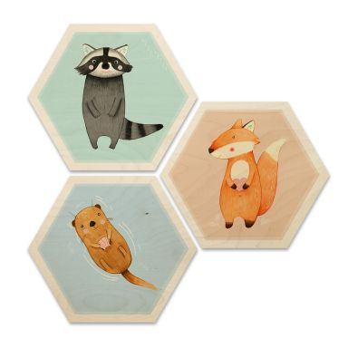 Hexagon Wood - Loske - Animals