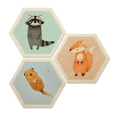 Hexagon - Holz Birke-Furnier - Loske - Die wilden Drei (3er Set)
