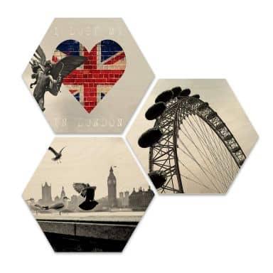 Hexagon - Holz Birke-Furnier - Impression of London (3er Set)