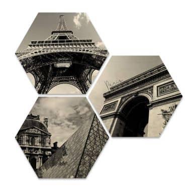 Hexagon - Holz Birke-Furnier - Impression of Paris (3er Set)