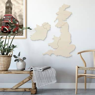 Holzkunst Pappel Furnier - Karte Vereinigtes Königreich