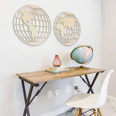 Houten Decoratie - Around the World (2-delig) populierenhout