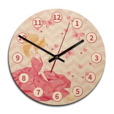 Horloge murale en bois - La princesse et la grenouille