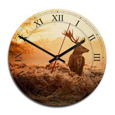Horloge murale en bois - Cerf majestueux