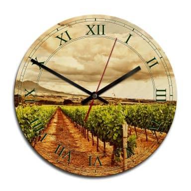 Horloge murale en bois - Vignes dans les montagnes